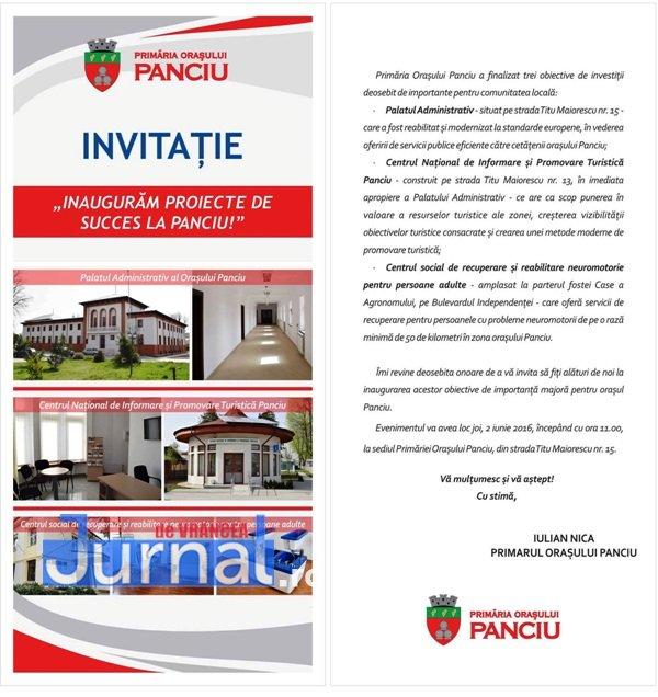 Invitatie 2 iunie - Primăria Panciu inaugurează Palatul Administrativ și alte două obiective de investiții importante