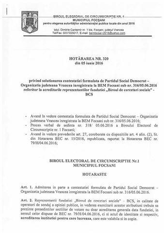 decizia BEM.2 2 - Scandal de proporţii în Vrancea ! Operatorii unei ONG, care făceau sondaj la urne, daţi afară din secţii