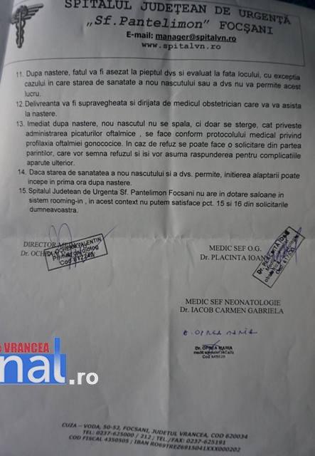 raspuns bun 2 - Spitalul Județean Focşani i-a răspuns gravidei care solicitase respectarea unor drepturi la naştere. Unele cerințe i-au fost refuzate