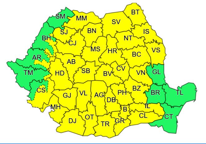 cod galben - ULTIMĂ ORĂ: Cod galben de ploi torențiale și vijelii