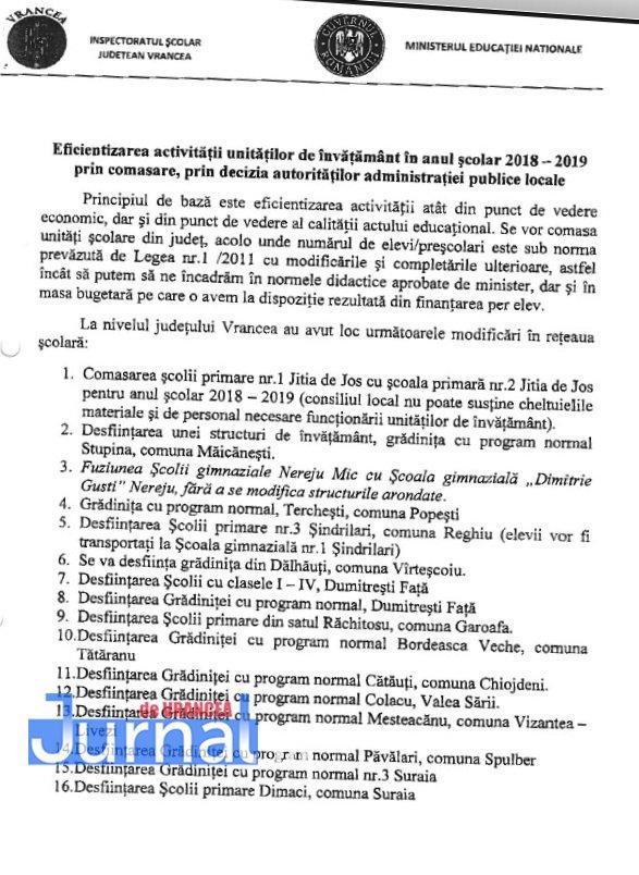 lista scoli desfiintate 1 - 16 școli din Vrancea vor fi desființate din anul școlar următor