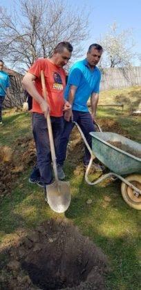 dumitresti plantare de puieti6 204x420 - FOTO: Plantări de primăvară la Dumitrești. O pădure de molizi se va ridica lângă Monumentul Eroilor
