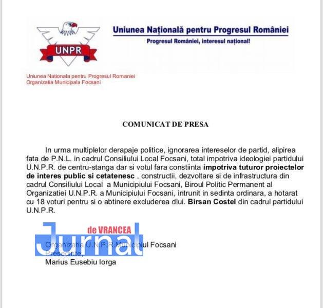 comunicat UNPR - ULTIMĂ ORĂ: Consilierul municipal Costel Bîrsan, exclus din UNPR! Mandatul de ales local este ameninţat în urma acestei decizii