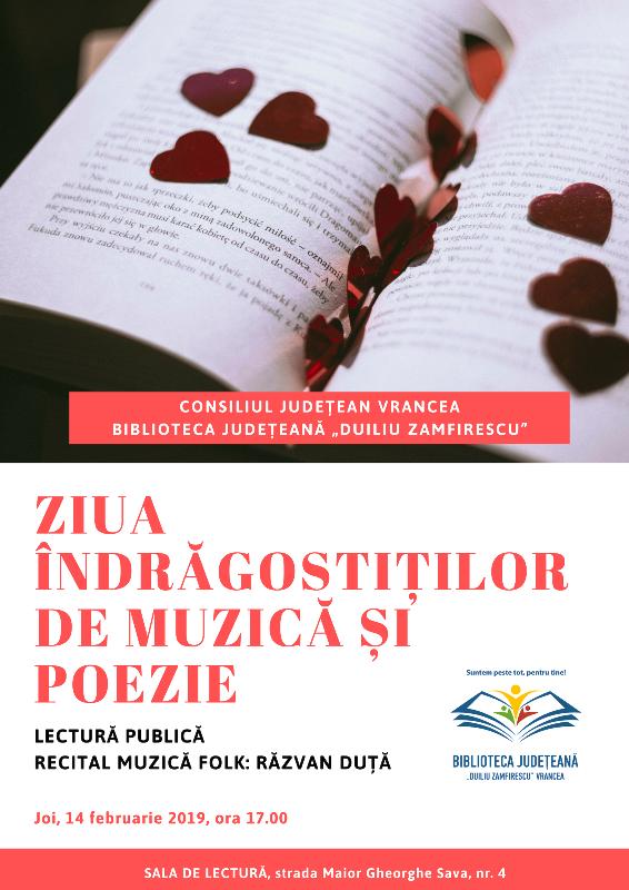 Afis biblioteca 14 februarie - Biblioteca Județeneană sărbătorește Ziua Îndrăgostiților... de muzică și poezie