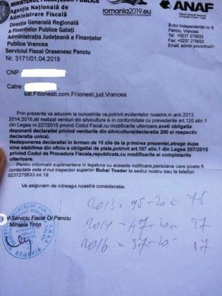 fitionesti 4 315x420 - FOTO-Ion Ștefan: Sute de vrânceni proprietari de pădure din Fitionești, somați de ANAF să plătească impozite pentru situații prescrise