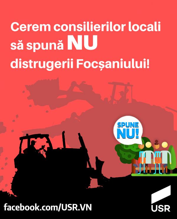 afis usr spune nu - USR le cere consilierilor locali să nu distrugă spațiul verde de lângă Tribunalul vechi