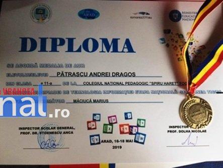diploma andrei patrascu colegiul pedagogic - Olimpic multiplu MEDALIAT CU AUR la PEDA!!!
