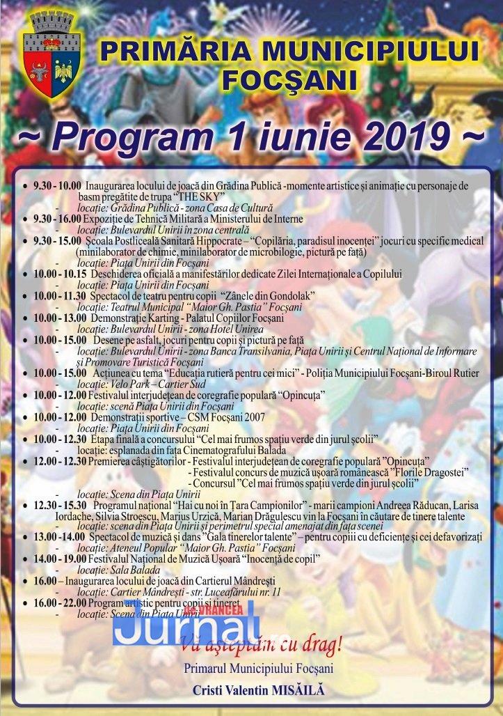 program primarie 1 iunie Focsani - Ce manifestări a pregătit municipalitatea pentru Ziua Internațională a Copilului