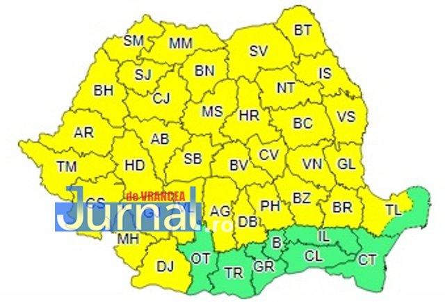 cod galben harta - ULTIMĂ ORĂ: Vrancea, COD PORTOCALIU de ploi torențiale