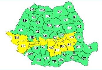 harta cod galben ploi 1 - ULTIMĂ ORĂ: Vrancea, sub două avertizări de ploi abundente