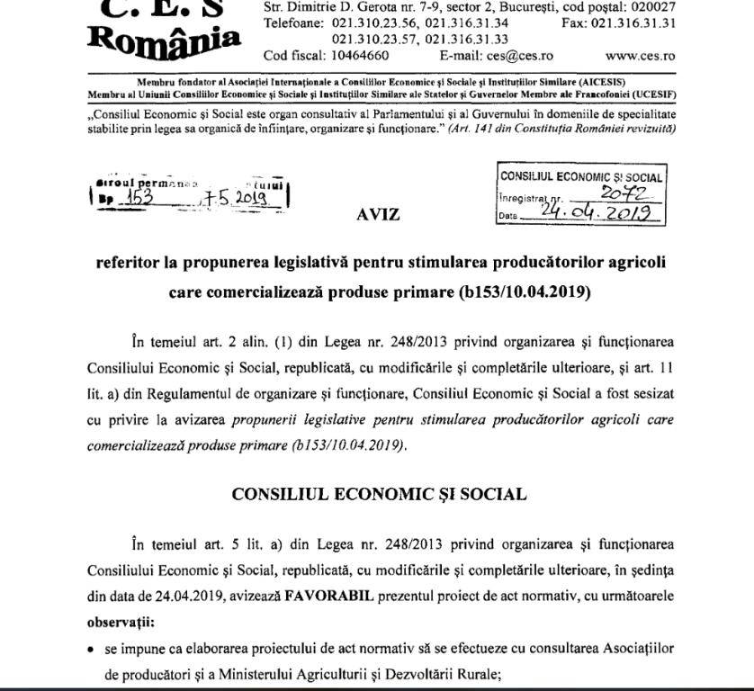 prima de comercializare aviz ces - Ion Ștefan: Aviz favorabil pentru prima de comercializare în agricultură pentru produsele românești