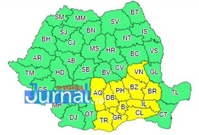 cod galben ploi harta2 - ULTIMĂ ORĂ: Caniculă și vijelii până diseară. Ploi torențiale până mâine dimineață