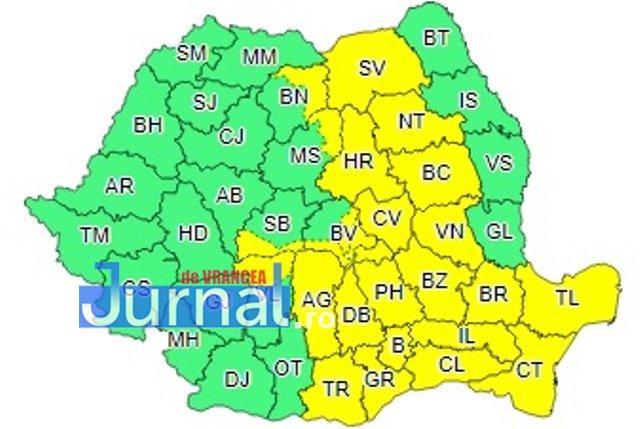 harta cod galben ploi 1 - ULTIMĂ ORĂ: Cod galben de ploi torențiale în Vrancea