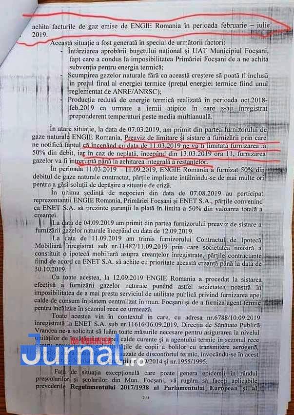 Documente enet focsani2 - FOTO: Cum i-a mințit ENET pe focșăneni: nu e apă caldă nu pentru că e revizie, ci pentru că s-au tăiat gazele pentru neplată!