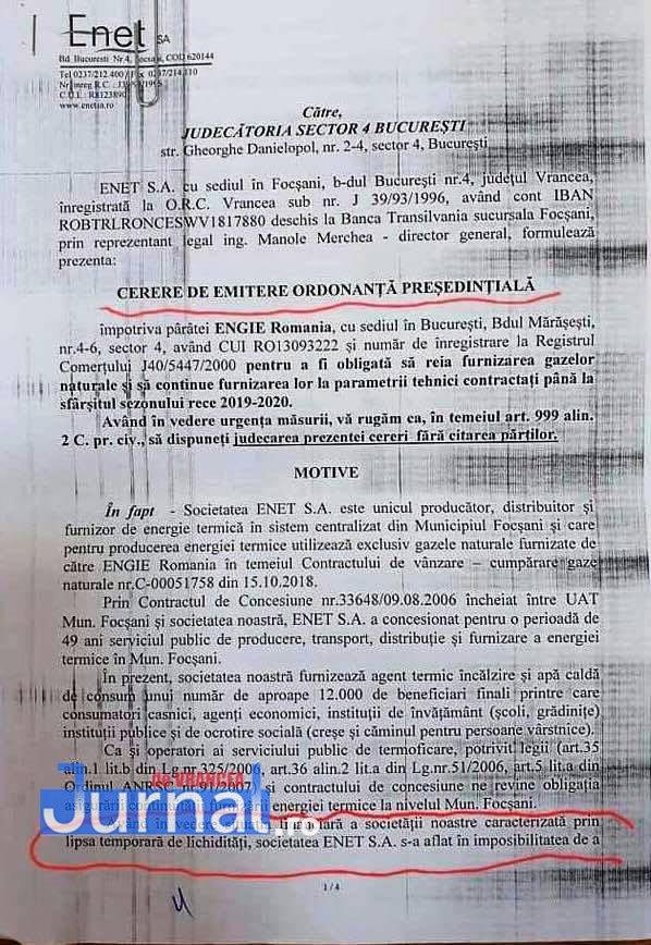 documente enet focsani1 - FOTO: Cum i-a mințit ENET pe focșăneni: nu e apă caldă nu pentru că e revizie, ci pentru că s-au tăiat gazele pentru neplată!