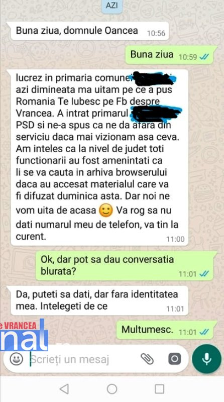 """whatsapp - Vrancea, """"județ la stăpân""""! Cum încearcă autoritățile să-i împiedice pe vrânceni să vizioneze emisiunea """"România, te iubesc!"""" de la Pro TV"""