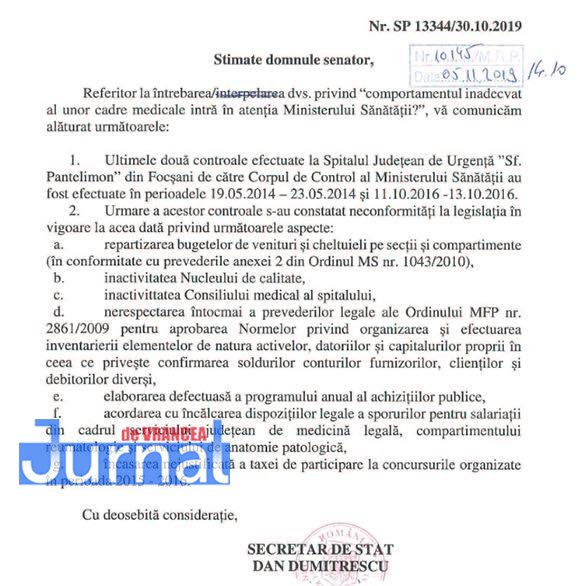 TOMA SITALUL JUDETEAN - FOTO: Probleme grave la Spitalul din Focșani. Conducerea a acordat sporuri ilegale și a încasat taxe în mod nejustificat