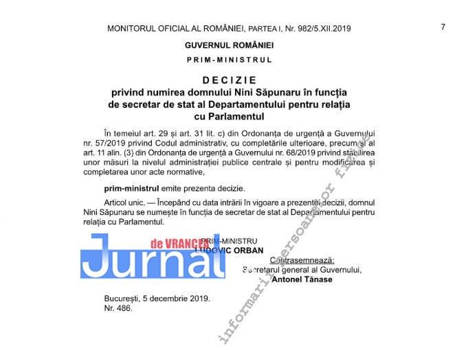 decizie nini sapunaru secretar de stat - Nini Săpunaru, numit secretar de stat în Guvernul Orban