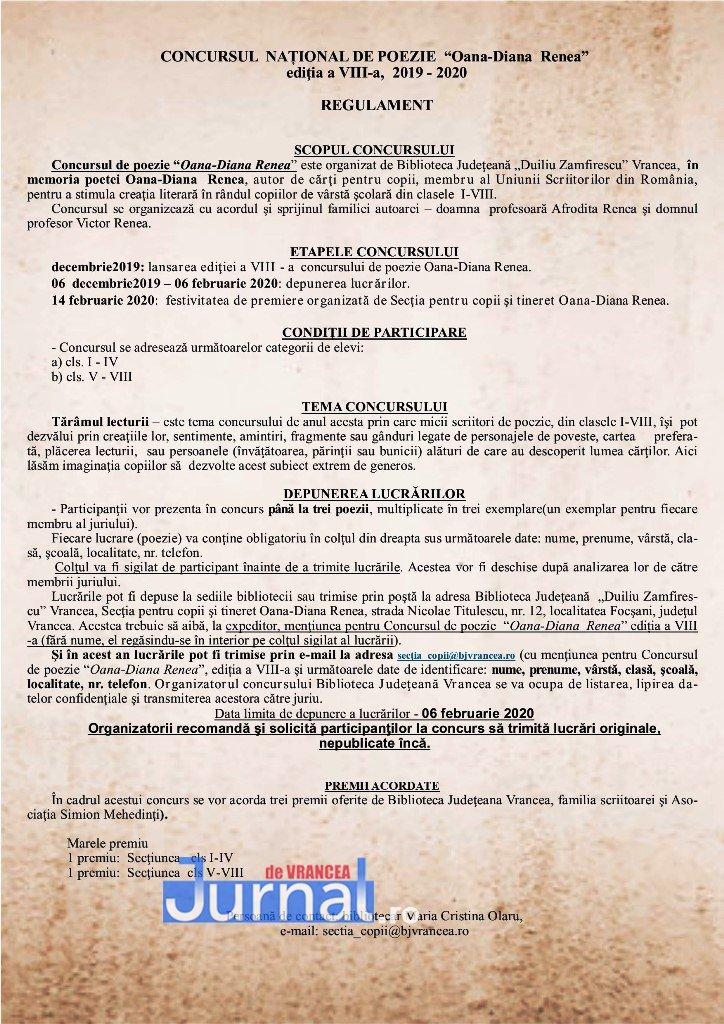 regulament concurs - START înscrierilor la concursul național de poezie Oana-Diana Renea
