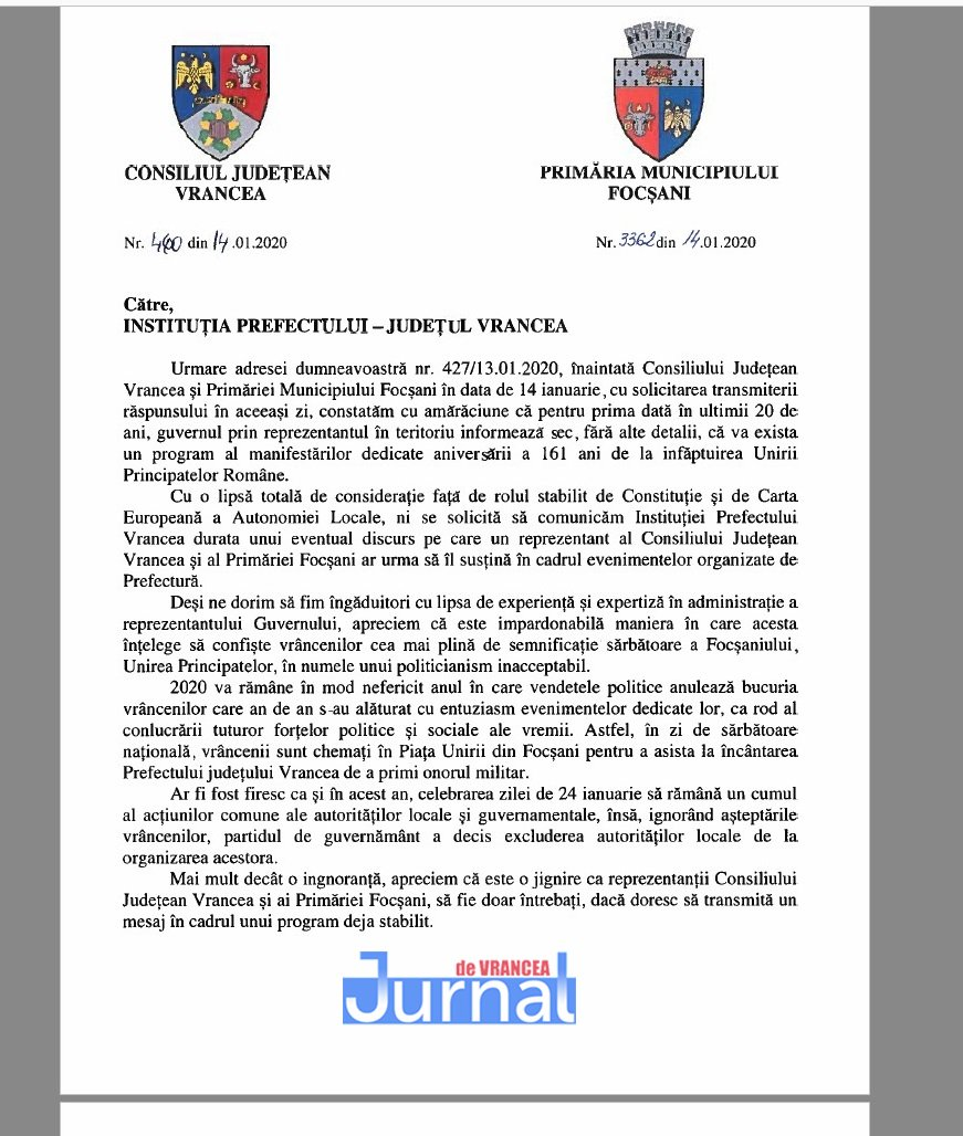 Adresa cj primarie 24 ianuarie 2020 1 - Organizarea zilei de 24 ianuarie, motiv de râcă între Oprișan&Misăilă și prefectul județului