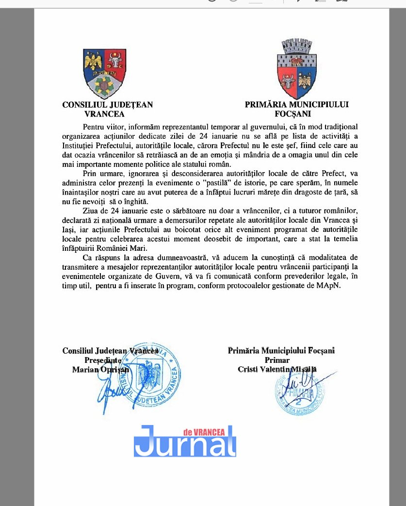 Adresa cj primarie 24 ianuarie 2020 2 - Organizarea zilei de 24 ianuarie, motiv de râcă între Oprișan&Misăilă și prefectul județului
