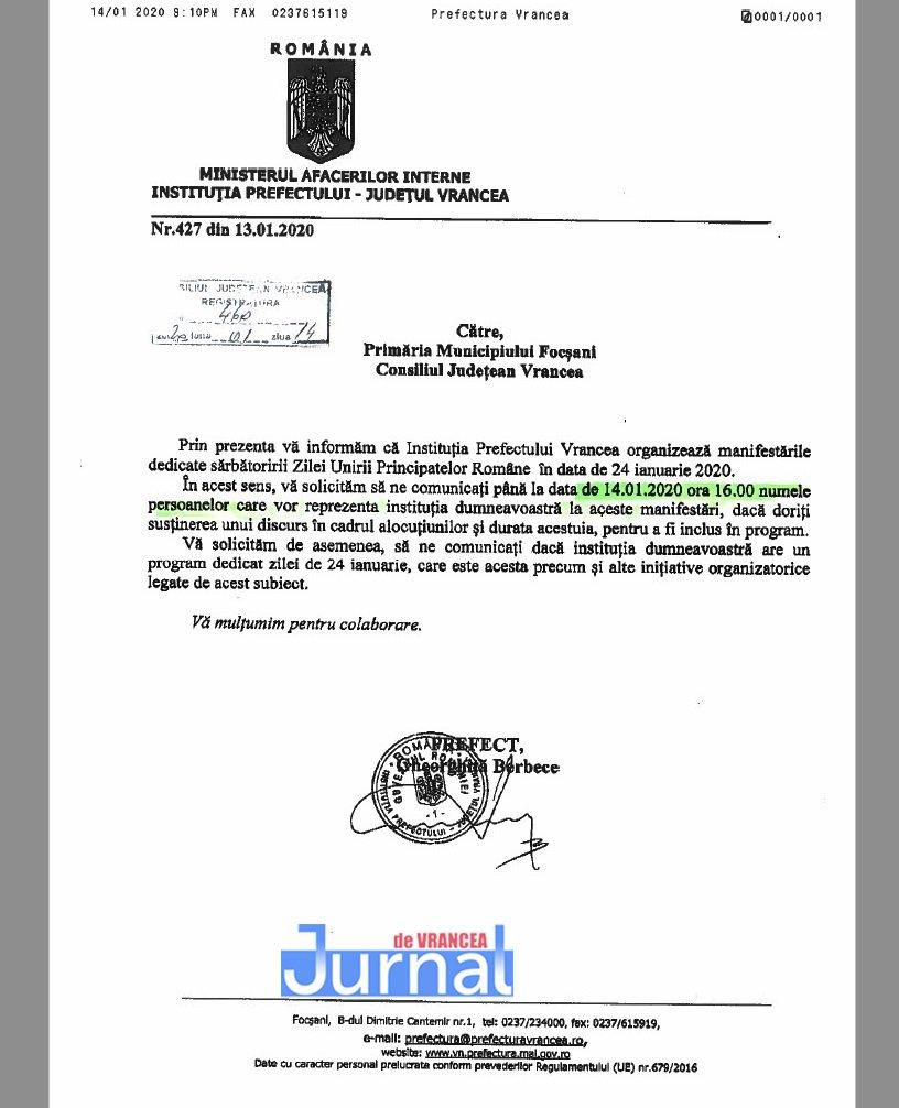 adresa prefectura 24 ianuarie 2020 - Organizarea zilei de 24 ianuarie, motiv de râcă între Oprișan&Misăilă și prefectul județului