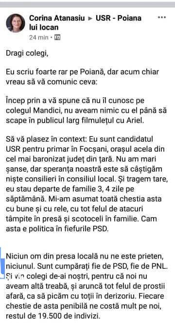 """corina atanasiu despre ziaristi - Corina Atanasiu, candidatul USR la Primăria Focșani se plânge că nu are """"prieteni"""" în presa locală"""