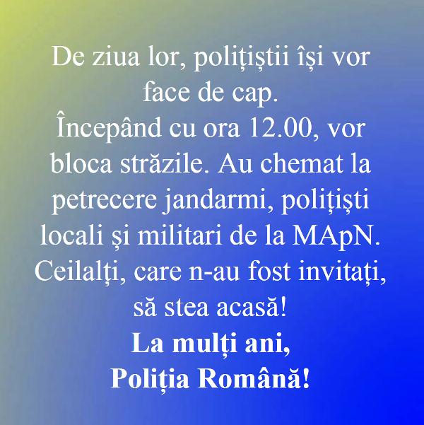 mesaj polita romana - 25 Martie: Ziua Poliției Române | Ce mesaj au transmis polițiștii, în plină pandemie de coronavirus