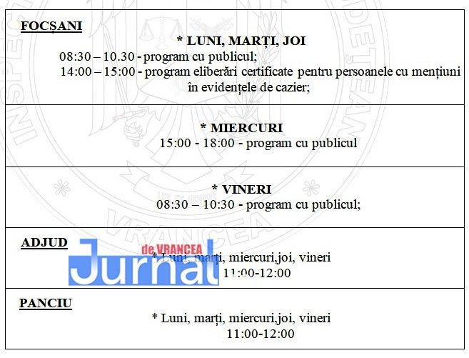 program - IPJ Vrancea: Precizări importante privind eliberarea cazierului judiciar