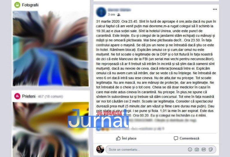 postare facebook copymod - Scandal între un polițist și un angajat al DSP Vrancea, la centrul de carantină din Focșani | Angajatul DSP depistat în stare de ebrietate
