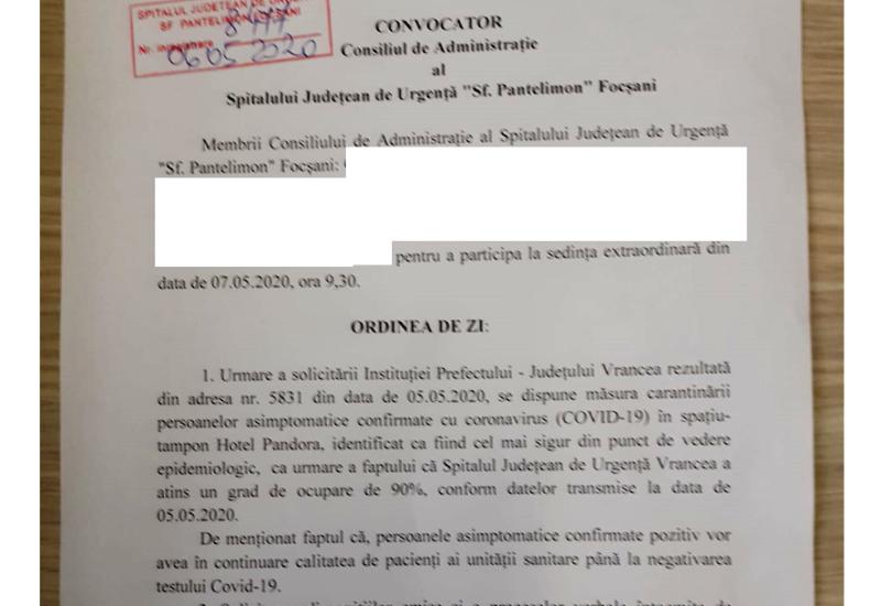 """CA spital - Persoanele asimptomatice confirmate cu COVID-19 vor fi """"internate"""" la hotelul unde până acum erau cazate persoanele în carantină"""
