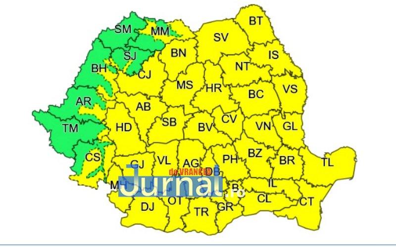 harta cod galben - ULTIMĂ ORĂ: După câteva zile cu temperaturi ridicate, vremea se schimbă | Meteorologii anunță ploi și vijelii