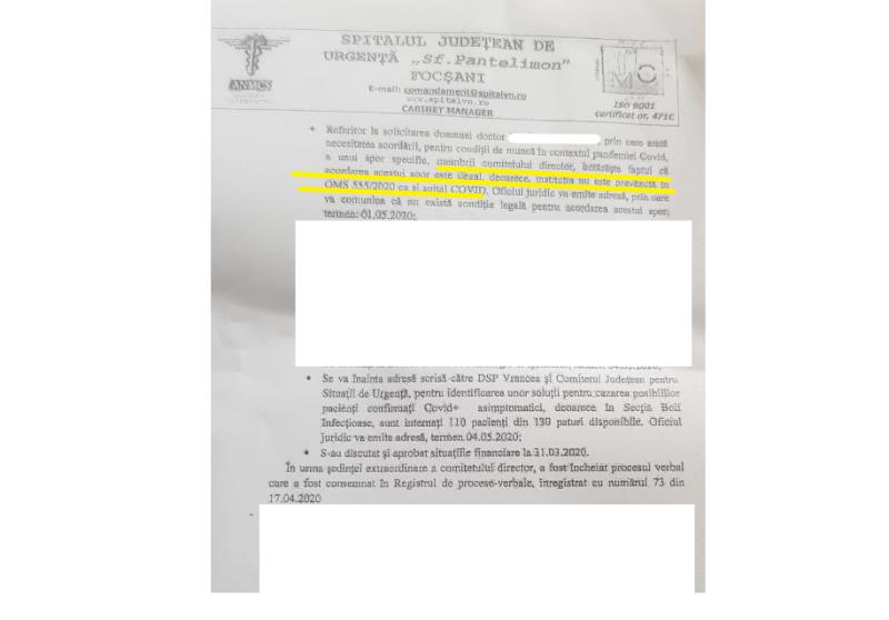 """sporuri ilegale - DOCUMENT: Zeci de cadre medicale care lucrează la Secția infecțioase a Spitalului Județean nu primesc spor de risc pentru COVID-19, pentru că ar fi """"ilegal""""!"""