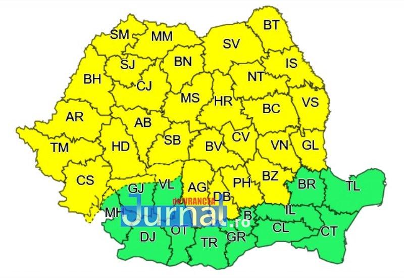 cod galben vrancea - ULTIMĂ ORĂ: Cod galben de instabilitate atmosferică, furtuni și ploi însemnate cantitativ