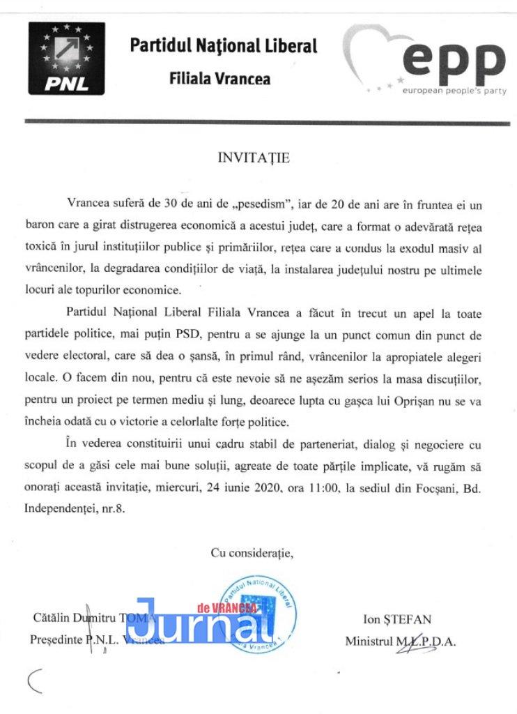 invitatie partide - PNL Vrancea inițiază primul demers pentru formarea unei alianțe care să învingă PSD