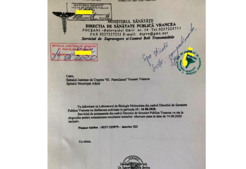 """adresa dsp 1 - DSP Vrancea anunță că a efectuat ieri """"nu mai puțin de 87 probe"""""""