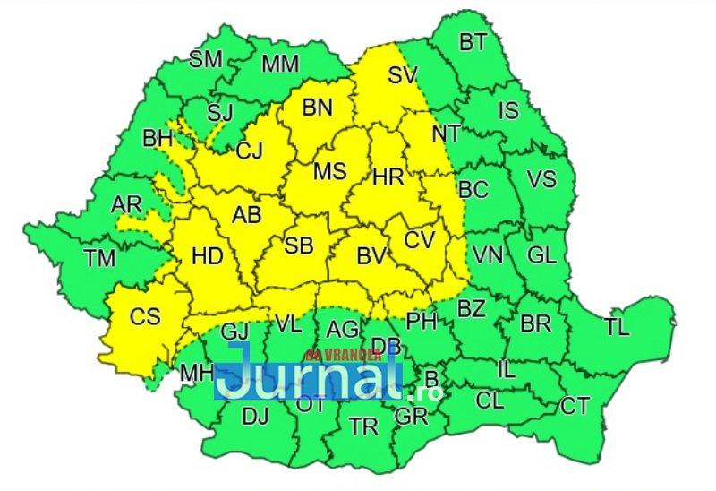 cod galben - ULTIMĂ ORĂ: Zona de munte a județului sub o avertizare de ploi torențiale și vijelii