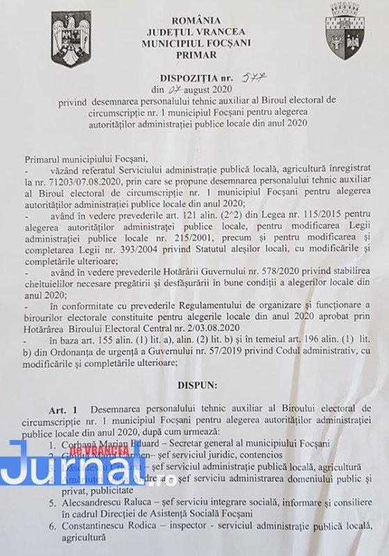 Decizie BEM - PNL Vrancea: Primarul Cristi Valentin Misăilă și-a pus nora vitregă, șoferul și cumnata prietenului Matișan în Biroul Electoral Municipal Focșani