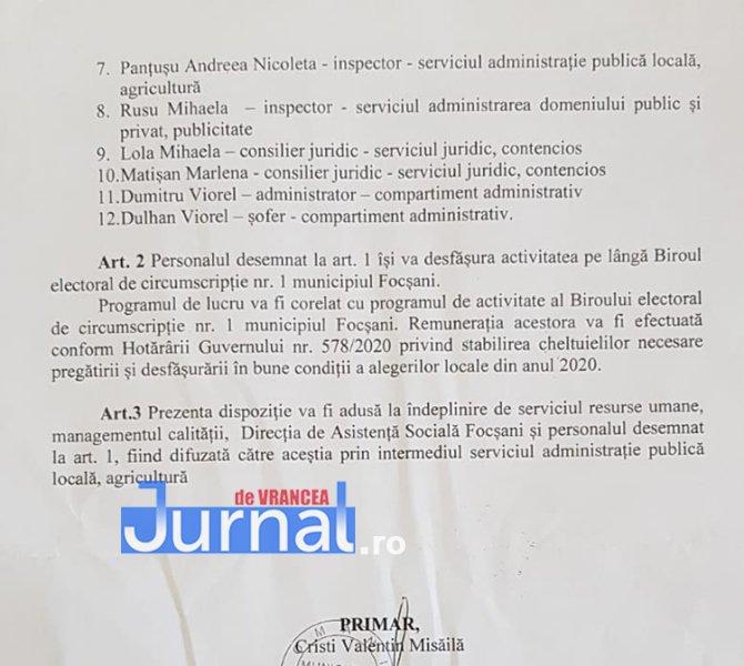 Decizie primar - PNL Vrancea: Primarul Cristi Valentin Misăilă și-a pus nora vitregă, șoferul și cumnata prietenului Matișan în Biroul Electoral Municipal Focșani