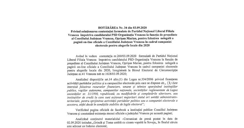 bej1 - Magistrații din BEJ au decis: Oprișan nu are voie să folosească pagina Consiliului Județean Vrancea pentru a-și face campanie!