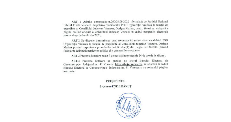 bej3 - Magistrații din BEJ au decis: Oprișan nu are voie să folosească pagina Consiliului Județean Vrancea pentru a-și face campanie!