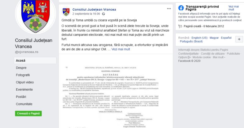 postare cj - Magistrații din BEJ au decis: Oprișan nu are voie să folosească pagina Consiliului Județean Vrancea pentru a-și face campanie!