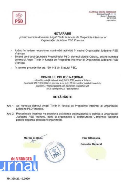 hotarare psd numire angel tilvar - ULTIMA ORĂ: Angel Tîlvăr numit președinte interimar la PSD Vrancea