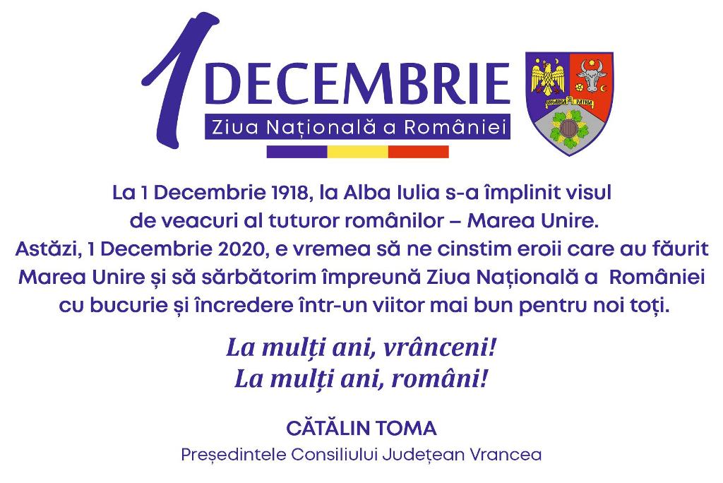 """mesaj catalin toma 1 decembrie - Cătălin Toma, președintele CJ Vrancea: """"La mulți ani, vrânceni! La mulți ani, români!"""""""